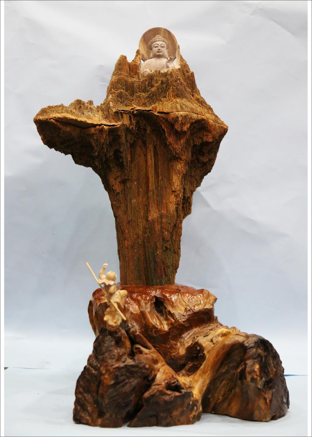 庄惠东的作品-庄惠东石雕作品《问佛》